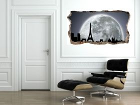3D Mural Wall Art The window to Paris under the moonlight, Glowing in the dark, 1.50 x 0.82 m