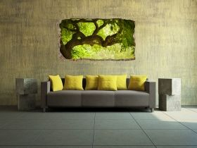 3D Mural Wall Art Green tree, Glowing in the dark, 1.50 x 0.82 m