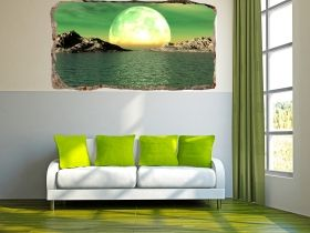 3D Mural Wall Art Moon over the water, Glowing in the dark, 1.50 x 0.82 m