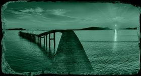 3D Mural Wall Art The bridge to the shore, Glowing in the dark, 1.50 x 0.82 m