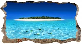 3D Mural Wall Art Island and clear water, Glowing in the dark, 1.50 x 0.82 m