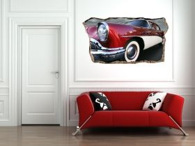 3D Mural Wall Art Red Retro Machine, Glowing in the dark, 1.50 x 0.82 m