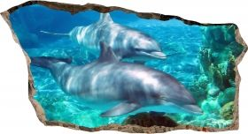 3D Mural Wall Art Dolphins, Glowing in the dark, 1.50 x 0.82 m