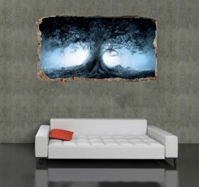 3D Mural Wall Art Tree, Glowing in the dark, 1.50 x 0.82 m