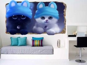 3D Mural Wall Art Kitten, Glowing in the dark, 1.50 x 0.82 m