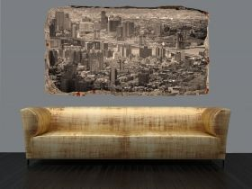 3D Mural Wall Art New York in gray shades, Glowing in the dark, 1.50 x 0.82 m