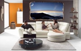 3D Mural Wall Art Winter sunset, Glowing in the dark, 1.50 x 0.82 m