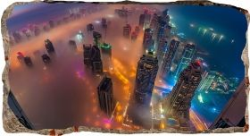 3D Mural Wall Art Skyscrapers seen from above, Glowing in the dark, 1.50 x 0.82 m