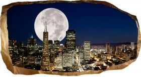 3D Mural Wall Art Full moon over the city, Glowing in the dark, 1.50 x 0.82 m