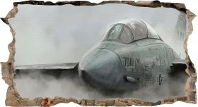 3D Mural Wall Art Fighting plane, Glowing in the dark, 1.50 x 0.82 m