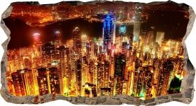 3D Mural Wall Art Bright skyscrapers, Glowing in the dark, 1.50 x 0.82 m
