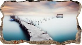 3D Mural Wall Art Bridge over the water, Glowing in the dark, 1.50 x 0.82 m