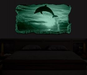 3D Mural Wall Art Dolphin, Glowing in the dark, 1.50 x 0.82 m