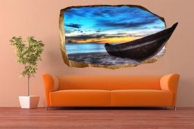 3D Mural Wall Art The boat in the room, Glowing in the dark, 1.50 x 0.82 m