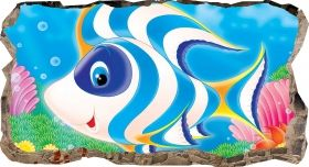 3D Mural Wall Art Happy fish, Glowing in the dark, 1.50 x 0.82 m