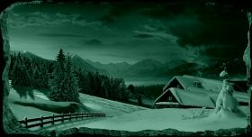 3D Mural Wall Art Winter Cottage, Glowing in the dark, 1.50 x 0.82 m
