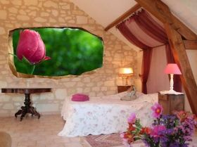3D Mural Wall Art Rose, Glowing in the dark, 1.50 x 0.82 m
