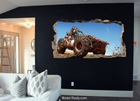 3D Mural Wall Art Buggie, Glowing in the dark, 1.50 x 0.82 m