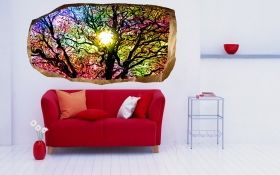 3D Mural Wall Art Colorful tree, Glowing in the dark, 1.50 x 0.82 m