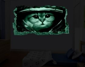 3D Mural Wall Art Astronaut, Glowing in the dark, 1.50 x 0.82 m