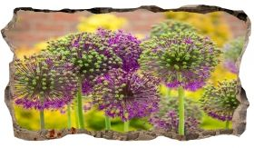 3D Mural Wall Art Purple flowers, Glowing in the dark, 1.50 x 0.82 m