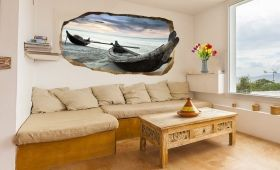3D Mural Wall Art Boats on the sand, Glowing in the dark, 1.50 x 0.82 m