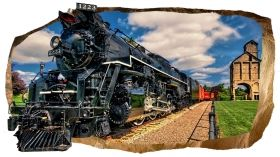 3D Mural Wall Art Luxury train, Glowing in the dark, 1.50 x 0.82 m
