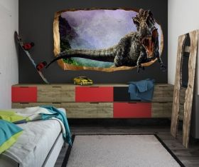 3D Mural Wall Art Jurassic Dinosaur, Glowing in the dark, 1.50 x 0.82 m