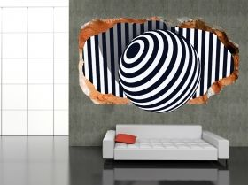 3D Mural Wall Art Black and white, Glowing in the dark, 1.50 x 0.82 m
