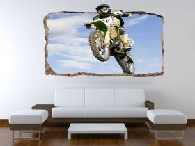 3D Mural Wall Art Motocross, Glowing in the dark, 1.50 x 0.82 m