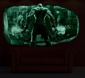 3D Mural Wall Art Man in the fire, Glowing in the dark, 1.50 x 0.82 m