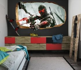 3D Mural Wall Art Soldier of the future, Glowing in the dark, 1.50 x 0.82 m