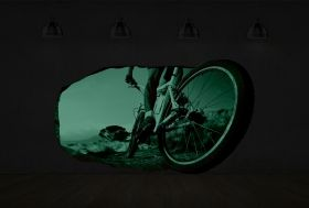 3D Mural Wall Art Bike wheel, Glowing in the dark, 1.50 x 0.82 m