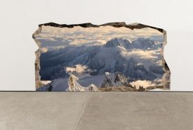3D Mural Wall Art Snow on the mountains, Glowing in the dark, 1.50 x 0.82 m