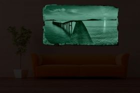 3D Mural Wall Art The bridge to the shore, Glowing in the dark, 2.20 x 1.20 m