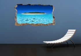 3D Mural Wall Art Island and clear water, Glowing in the dark, 2.20 x 1.20 m