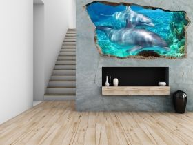 3D Mural Wall Art Dolphins, Glowing in the dark, 2.20 x 1.20 m