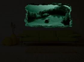 3D Mural Wall Art Mountain refuge, Glowing in the dark, 2.20 x 1.20 m