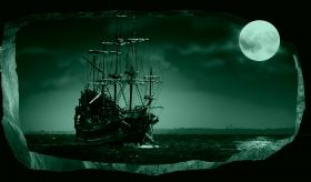 3D Mural Wall Art The moon and the ship, Glowing in the dark, 2.20 x 1.20 m