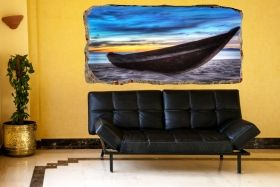 3D Mural Wall Art The boat on the sand, Glowing in the dark, 2.20 x 1.20 m