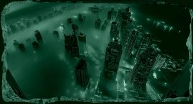 3D Mural Wall Art Skyscrapers seen from above, Glowing in the dark, 2.20 x 1.20 m