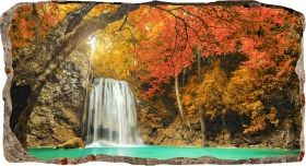 3D Mural Wall Art Waterfall in the forest, Glowing in the dark, 2.20 x 1.20 m