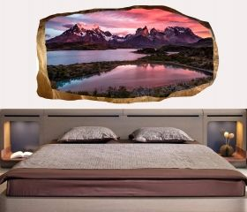3D Mural Wall Art Mountain lake, Glowing in the dark, 2.20 x 1.20 m