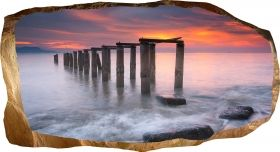 3D Mural Wall Art Sunset on the beach, Glowing in the dark, 2.20 x 1.20 m