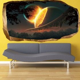 3D Mural Wall Art Another world, Glowing in the dark, 2.20 x 1.20 m