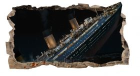 3D Mural Wall Art Titanic, Glowing in the dark, 2.20 x 1.20 m