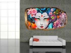3D Mural Wall Art Japanese, Glowing in the dark, 2.20 x 1.20 m