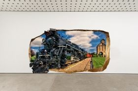 3D Mural Wall Art Luxury train, Glowing in the dark, 2.20 x 1.20 m