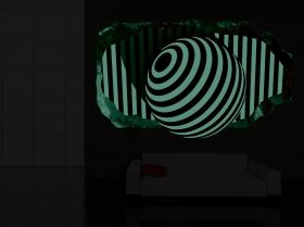 3D Mural Wall Art Black and white, Glowing in the dark, 2.20 x 1.20 m