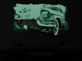 3D Mural Wall Art Vintage car, Glowing in the dark, 2.20 x 1.20 m